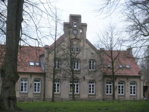 One of the houses and part of the dining hall at the Schloss
